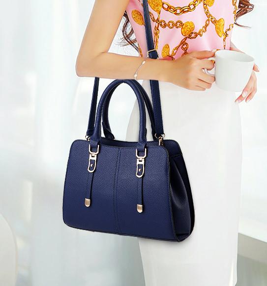 พร้อมส่ง กระเป๋าผู้หญิงถือและสะพายข้าง เรียบหรู แฟชั่นสไตล์ยุโรป รหัสKO-256 สีน้ำเงิน