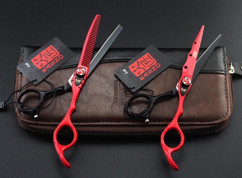 กรรไกรตัดผมซอยผม Kasho Red/Black Tiger 6.0