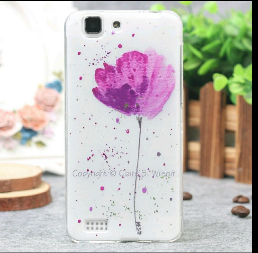 เคส vivo x3 เคสtpuนิ่ม ดอกไม้สีม่วง