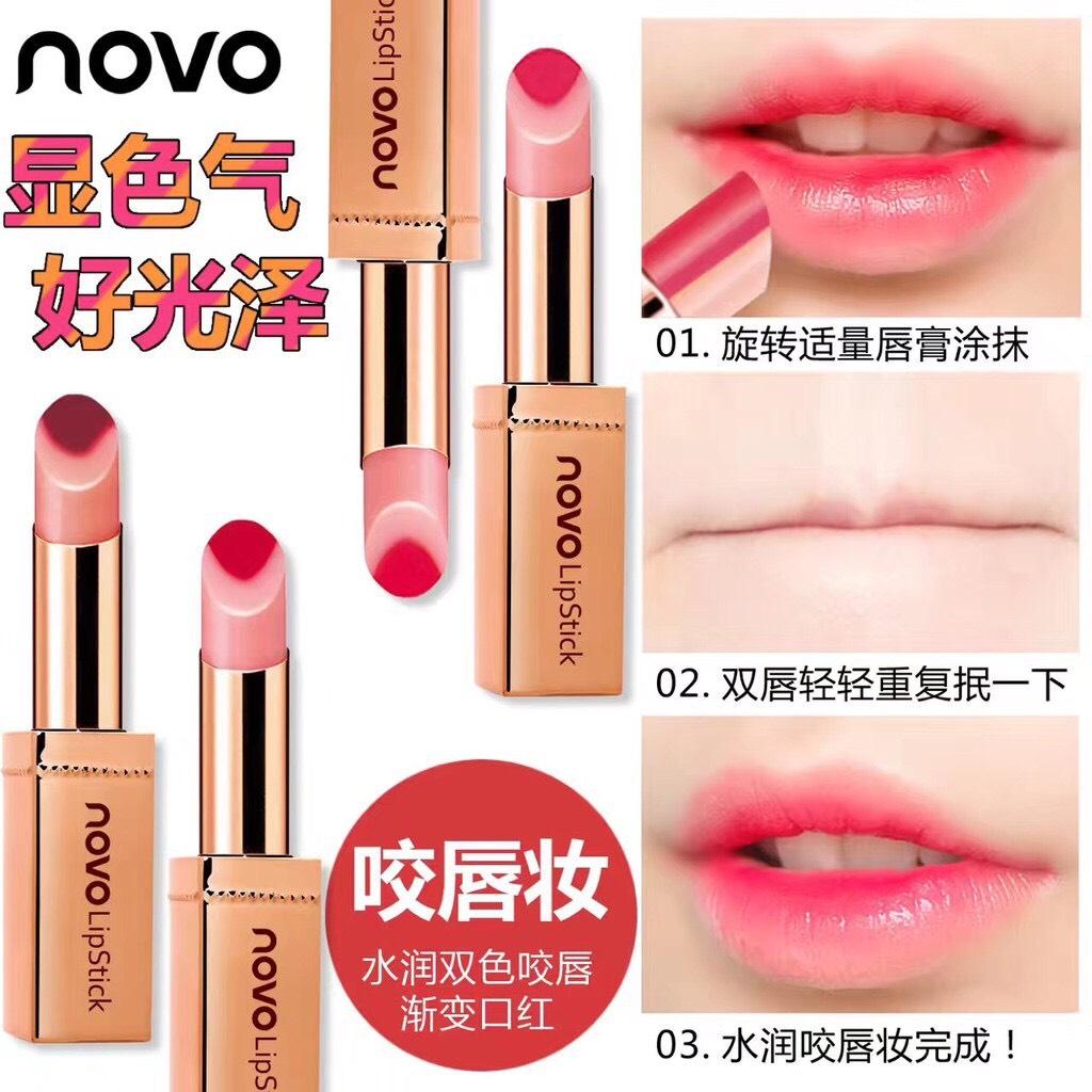ลิปสติคแท่งทอง Novo Double Color Hydra lip ตัวใหม่ 2017 ฝาครอบลิปแบบแม่เหล็ก ลิปทูโทนแท่งทอง