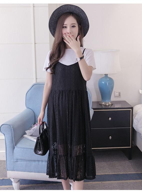 ชุดเอี้ยมคลุมท้องสีดำ + เสื้อ
