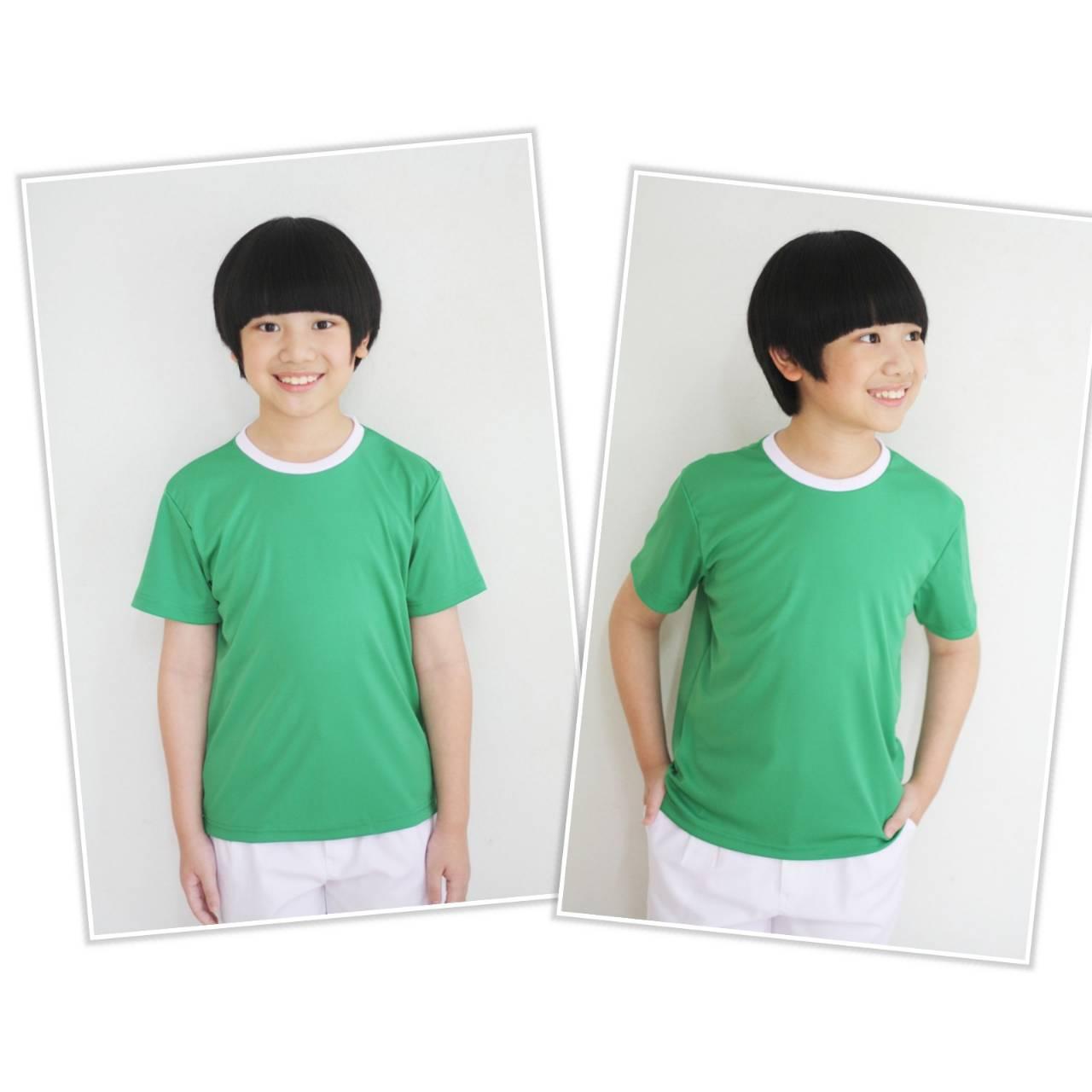 ไซส์ S เสื้อกีฬาสีเด็ก เสื้อกีฬาเปล่าเด็ก เสื้อกีฬาสีอนุบาล สีเขียว ไซส์ S