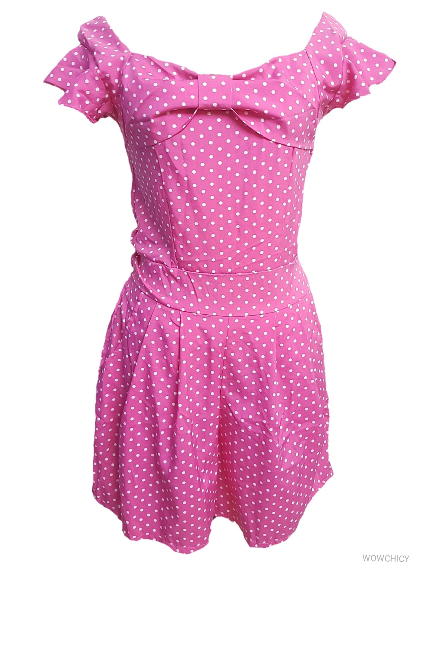 ลดราคาต่ำกว่าทุน 1-12 มิถุนายน เสื้อผ้าแฟชั่นราคาถูกขายส่ง Big jumpsuit สีชมพูลายจุด ผ้าไหมอิตาลี่ แต่โบว์ที่อกน่ารัก