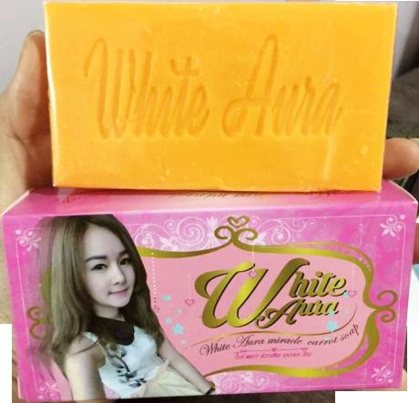 สบู่ไวท์ออร่า สบู่ผิวขาว สบู่ออร่าไวท์ White aura ลดสิว ฝ้า