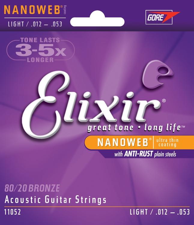 สายกีตาร์โปร่ง Elixir 80/20 Bronze Nanoweb Anti-Rust, Light, 12-53