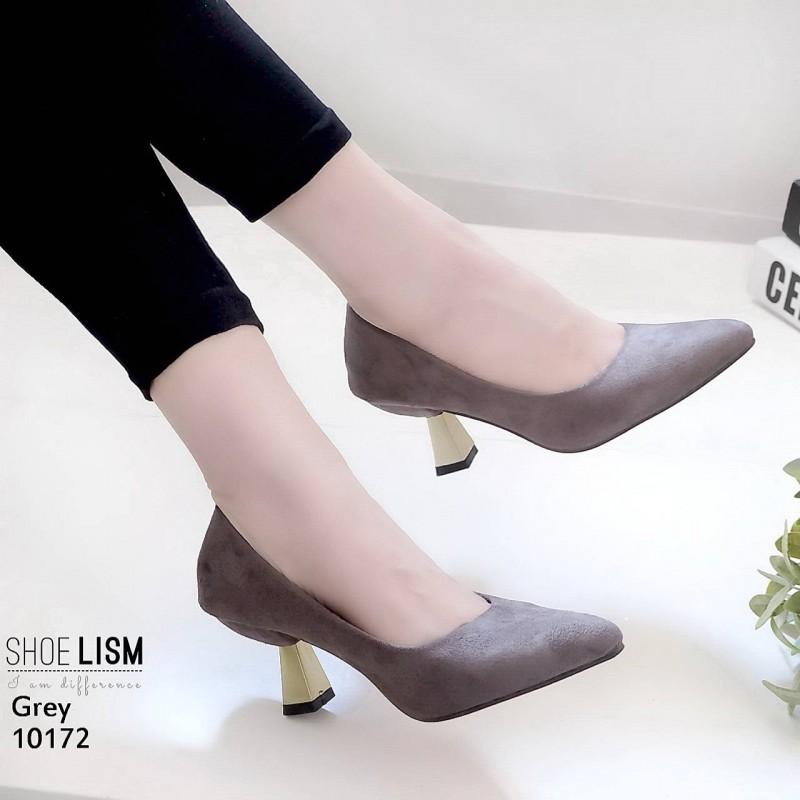 รองเท้าส้นสูงปราด้าสีเทา LB-10172-เทา