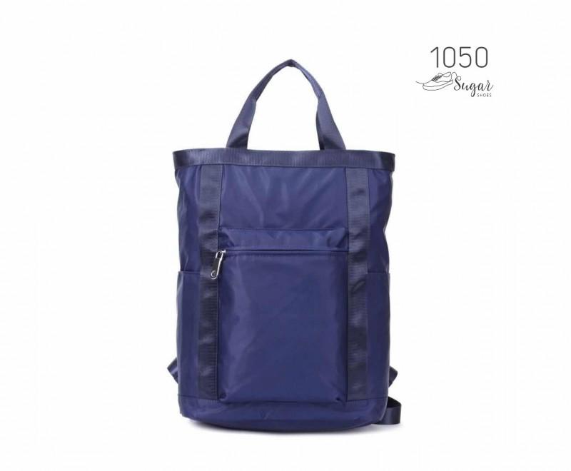 พร้อมส่ง กระเป๋าเป้ผ้าไนล่อนใบใหญ่ - 1050 [สีน้ำเงิน]