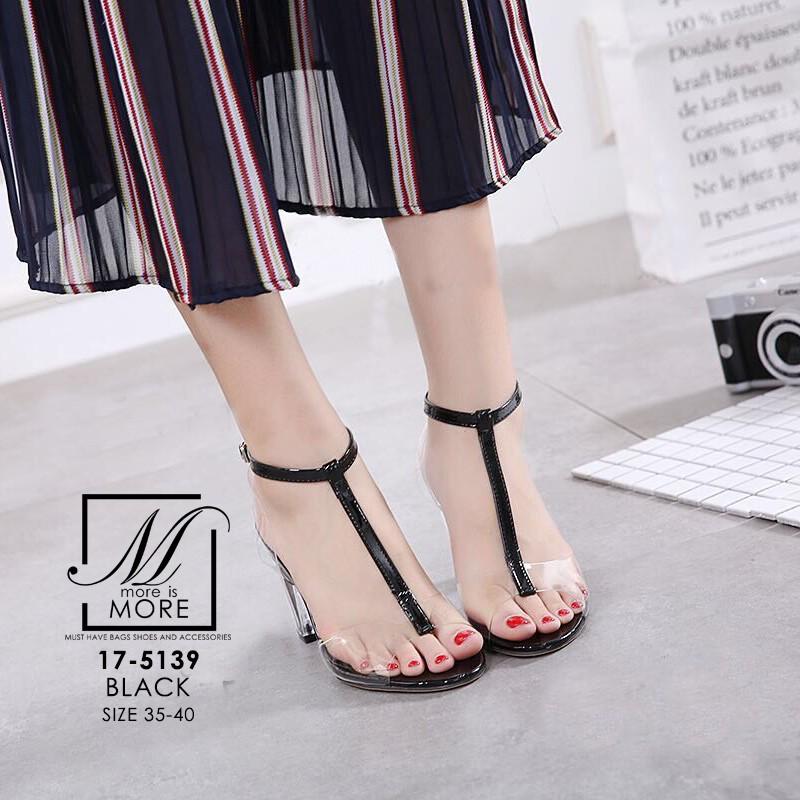 พร้อมส่ง รองเท้าส้นสูงรัดข้อสีดำ พลาสติกใส ส้นแก้ว แฟชั่นเกาหลี [สีดำ ]