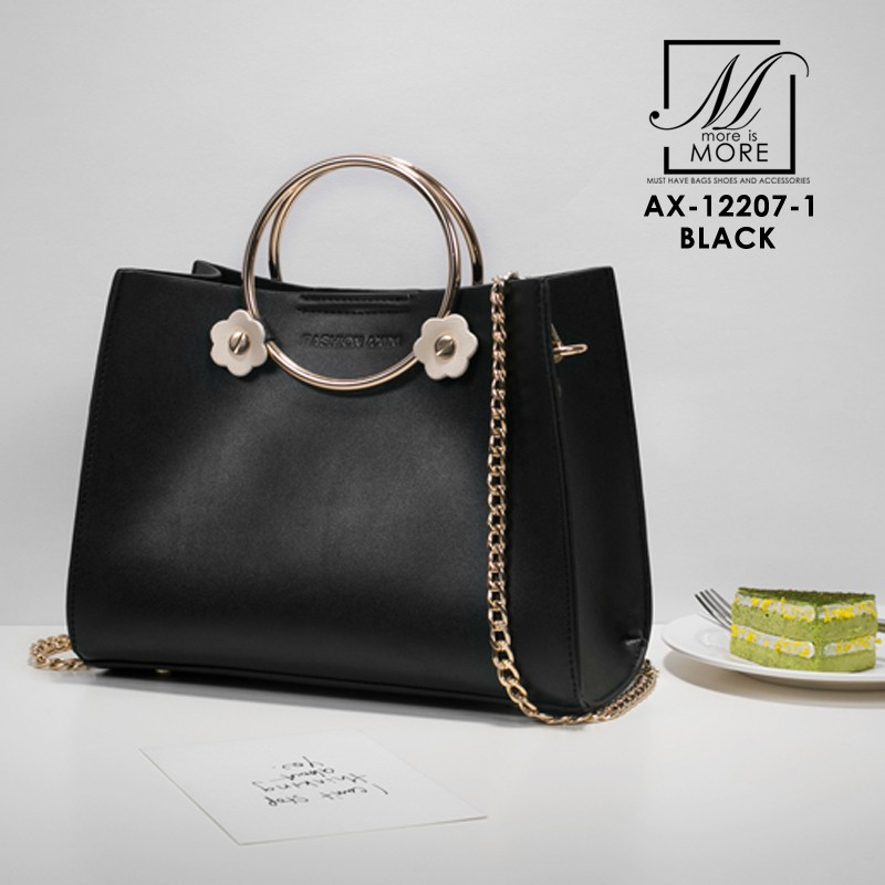 กระเป๋าสะพายกระเป๋าถือ แฟชั่นนำเข้าดีไซน์เรียบหรู AX-12207-1-BLK (สีดำ)