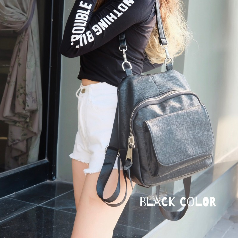 กระเป๋าเป้ผู้หญิง กระเป๋าสะพายหลังแฟชั่น สะพายข้างได้ แบบแพ็คเป็นเป้ได้ ซิปใหญ่ [สีดำ ]