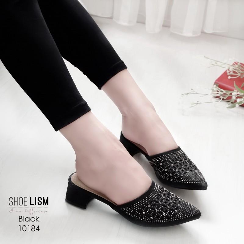 รองเท้าหัวแหลมสีดำ สไตล์ซาร่าห์ LB-10184-ดำ