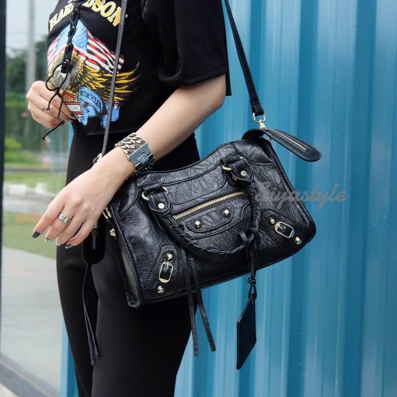 กระเป๋าสะพายแฟชั่น กระเป๋าสะพายข้างผู้หญิง Balencia Lambskin (หนังยับ) [สีดำ]