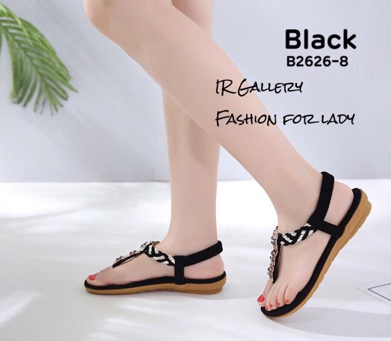 รองเท้าแตะรัดส้นสีดำ พื้นนิ่ม B2626-8-ดำ