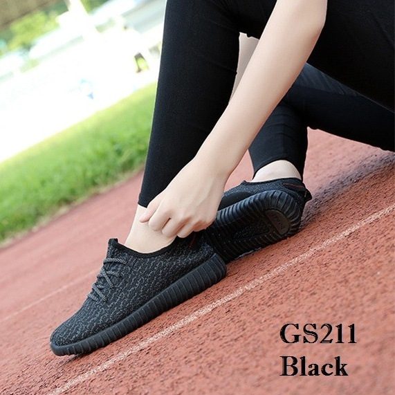 พร้อมส่ง รองเท้าผ้าใบแฟชั่น งานผ้า น้ำหนักเบา ทรงยอดฮิต แฟชั่นเกาหลี [สีดำ ]