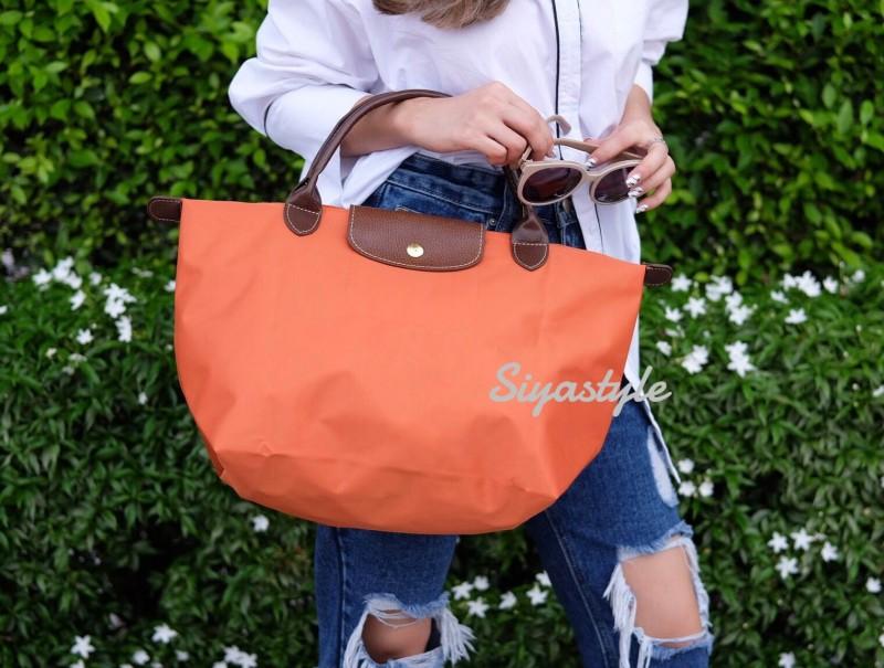 กระเป๋าสะพายแฟชั่น กระเป๋าสะพายข้างผู้หญิง ลองชอมผ้า Style [สีส้ม]