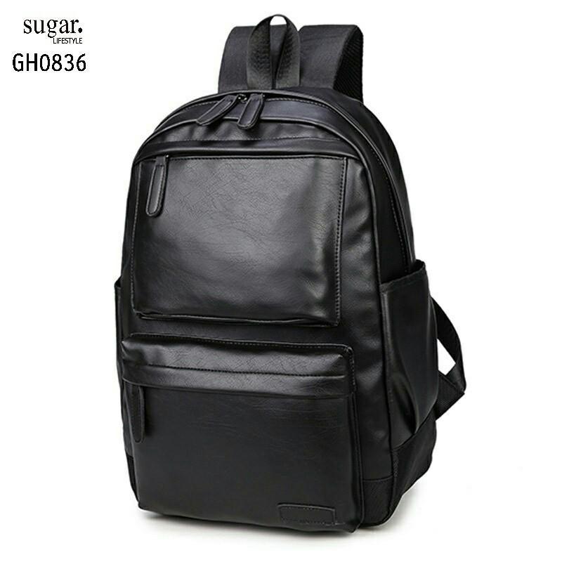 แบบมาใหม่ กระเป๋าเป้ผู้ชายหนัง pu ขนาดใหญ่ใช้งานได้คุ้ม GH0836-ดำ (สีดำ)