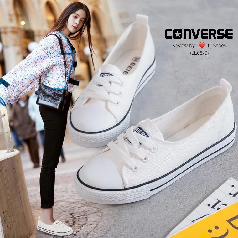 รองเท้าผ้าใบ ส้นเเบน(สีขาว)