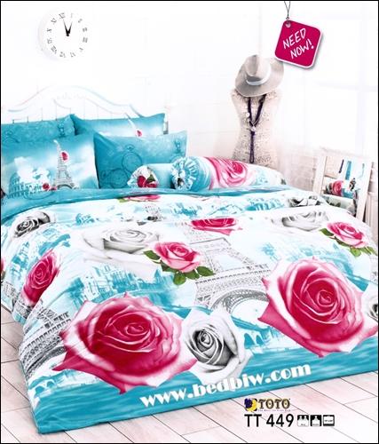 ชุดเครื่องนอนtoto ชุดผ้าปูที่นอนtoto ลายดอกกุหลาบ TT449