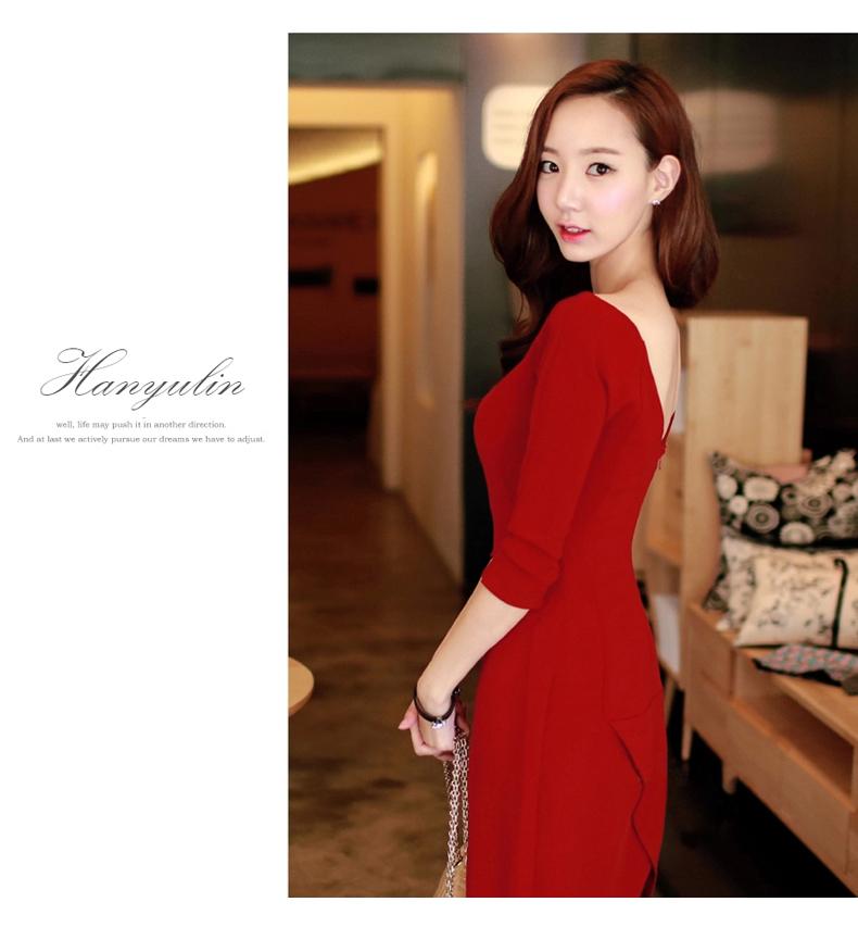 รับตัวแทนจำหน่ายชุดเดรสแฟชั่นเกาหลีสีแดงกระโปรงยาวสวยๆ