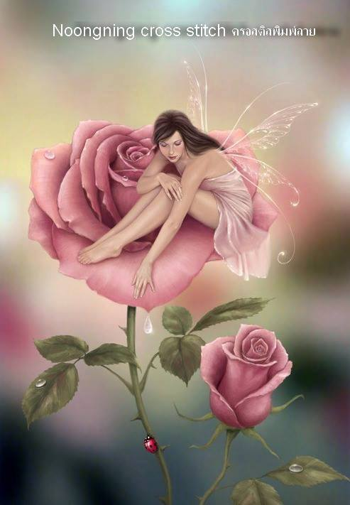 ดอกกุหลาบ+ ภูติดอกไม้ ชุดปักครอสติช พิมพ์ลาย งานฝีมือ