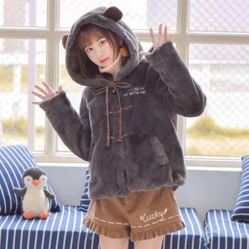 Pre-Order แจ๊คเก็ตฮู้ดหมีขนนุ่ม สีเทา บุผ้าฝ้ายด้านใน