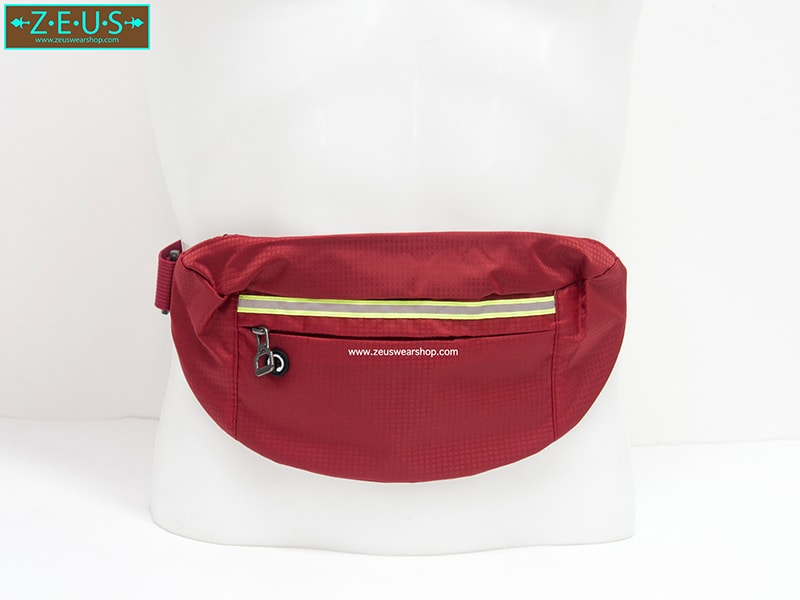 กระเป๋าคาดเอววิ่ง กันน้ำ สีแดง Size L มี 3 ซิป เสียบหูฟังได้