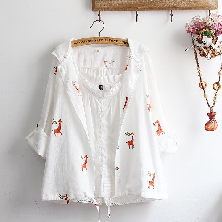 Pre-Order เสื้อคลุมฮู้ดผ้าป่าน ปักลาย มี3ลาย