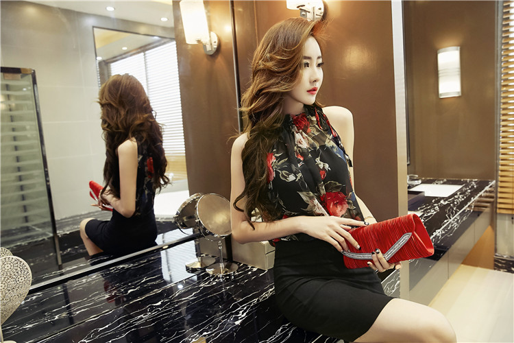 ชุดเดรสแฟชั่นเกาหลีลายดอกสีดำ
