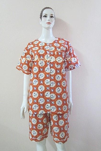 ชุดนอน(ญ)ขาสามส่วน ผ้า Cotton สีส้มแบบลาย MUFFY DOG คอกลม
