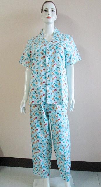 ชุดนอน(ญ)ขายาวแขนสั้น ผ้า Cotton สีฟ้าเขียวลายดอก ฟรีไซส์ มี 2 สี ส้มโอรส,สีฟ้า