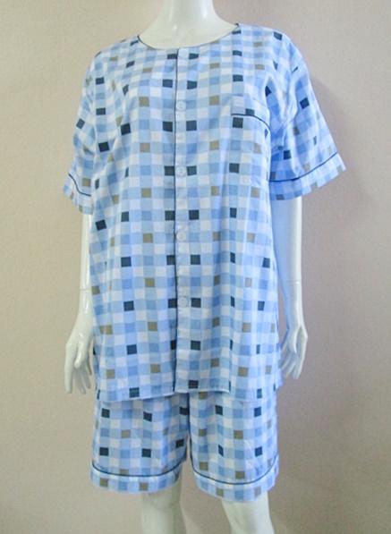 ชุดนอน(ช)กางเกงขาสั้น ผ้า Cotton เกรด เอ แบบลายสีฟ้า คอกลม ขนาดไซส์ XXL