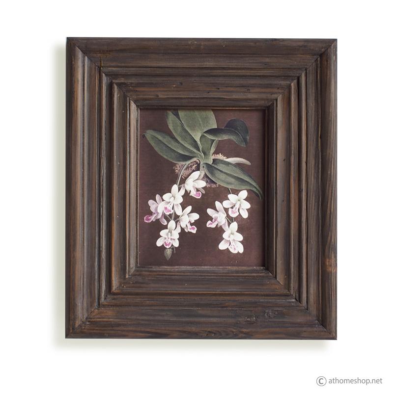 วอลล์อาร์ตพิมพ์ลายช่อดอกไม้ กรอบบัวไม้