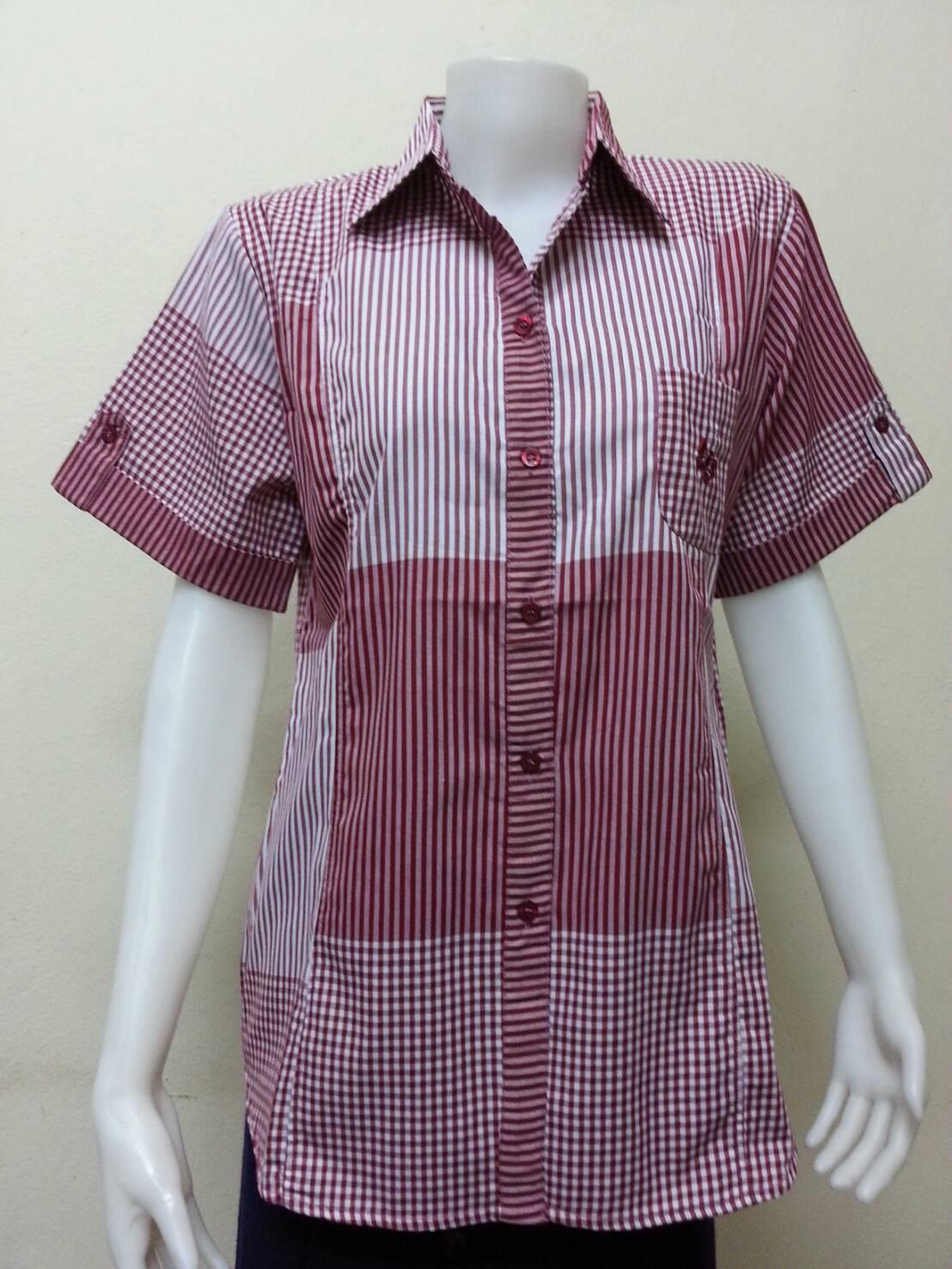 เสื้อลายสก๊อตแขนสั้น Patino Fashion สีแดงเลือดหมู