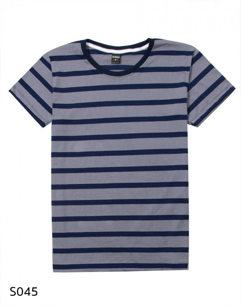เสื้อยืดคอกลมลายทาง S045 (สีขาวเหลืองเล็ก)