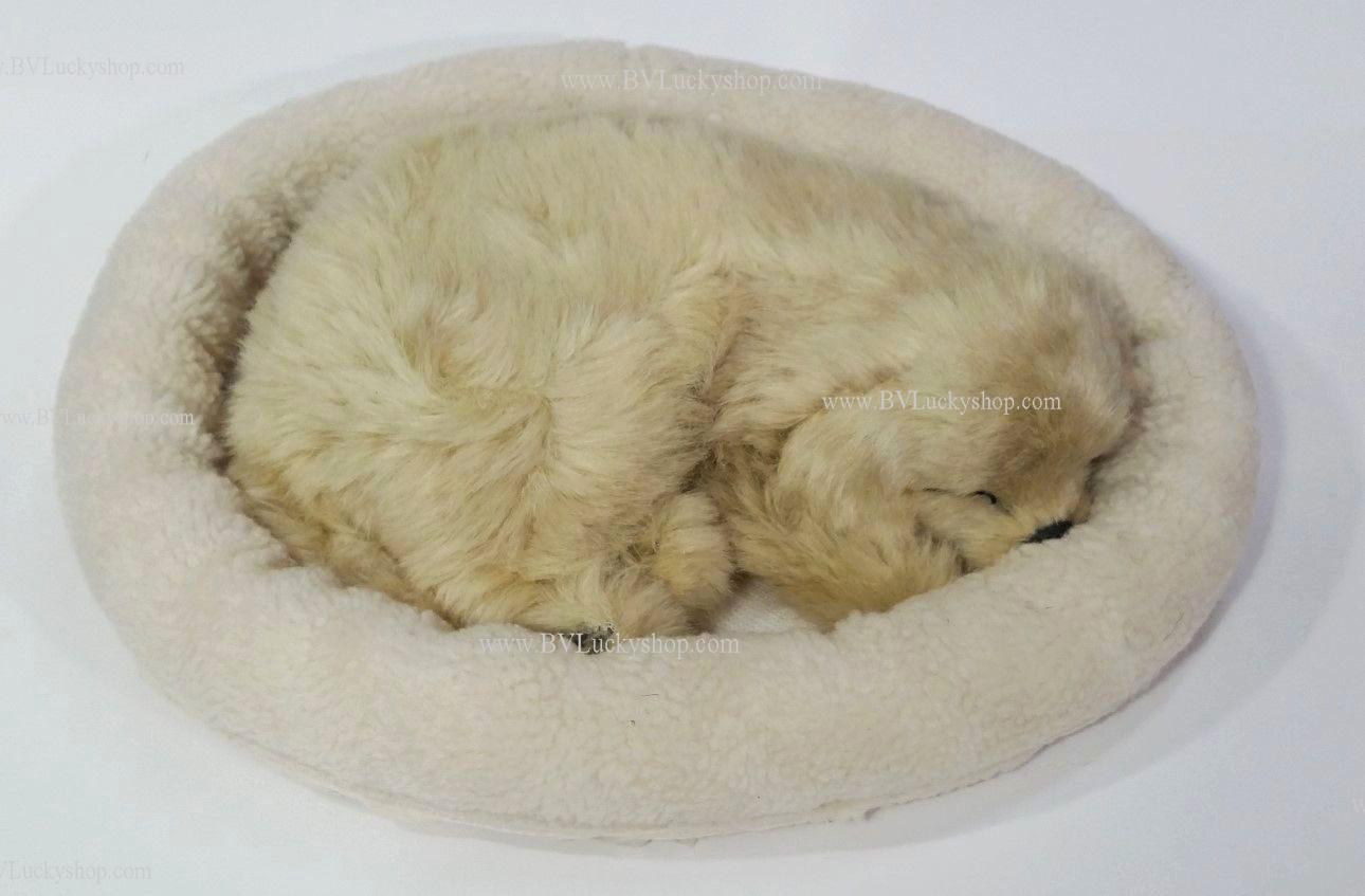 ตุ๊กตาหมา นอนหลับ หายใจได้ (ใส่ถ่าน) สีทองสว่าง