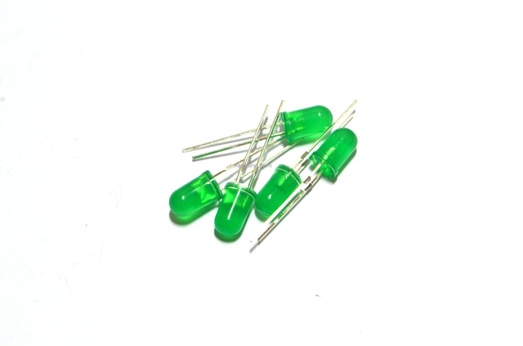 LED 5mm (สีเขียว) จำนวน10 หลอด