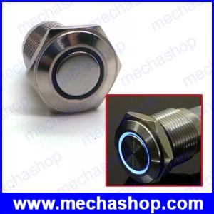 สวิทซ์กดเปิดกดปิด มีไฟ LED วงแหวนสีฟ้า 36V 16mm Flat round latching switch ring lamp waterproof IP67 Model 1635Zสวิทซ์กดเปิดกดปิด มีไฟ LED วงแหวนสีฟ้า 36V 16mm Flat round latching switch ring lamp waterproof IP67 Model 1635Z
