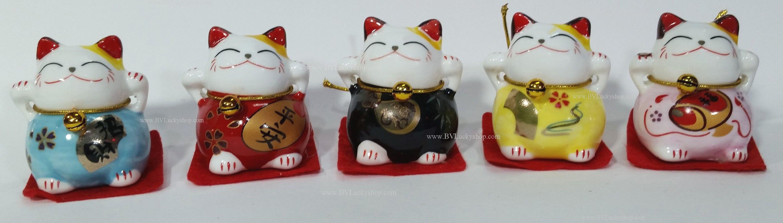 แมวกวัก แมวนำโชค สูง1.5นิ้ว ชุด 5 ตัว [catset-S1]