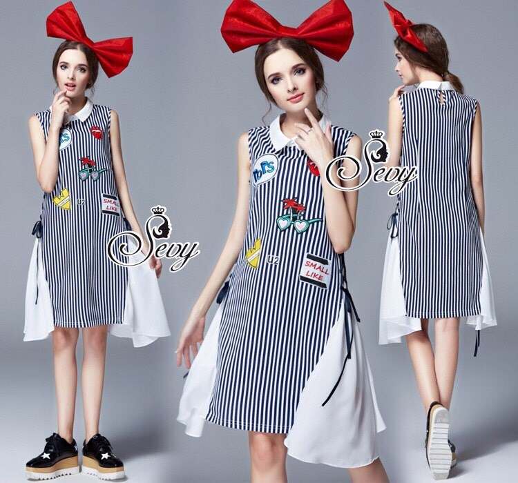 Sevy Striped Sporty Embroidered Clipping Ribbon Mini Dress