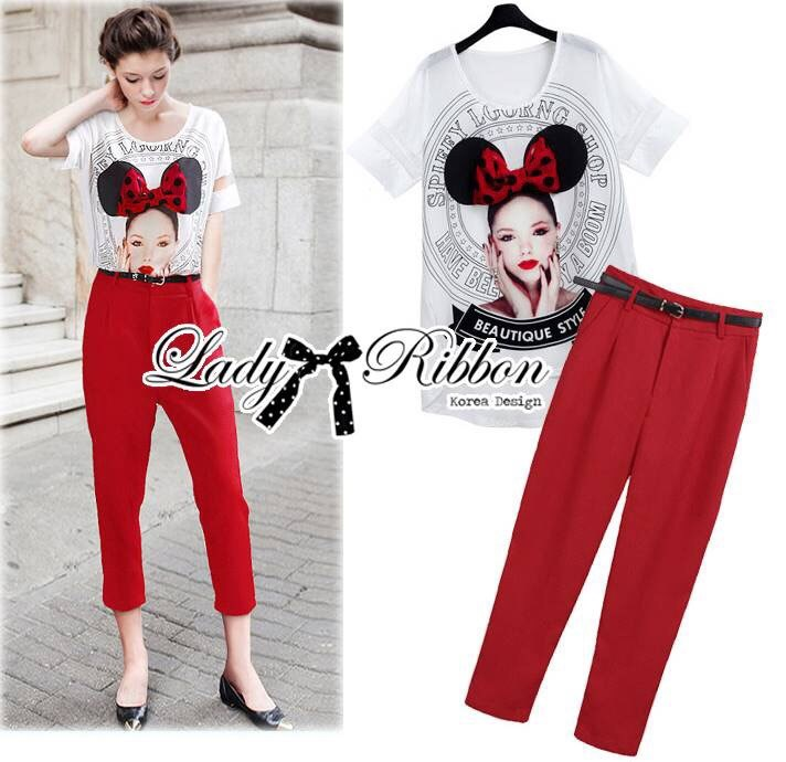 Lady Sophia Girl Printed Top and Red Cigarette Pants Set