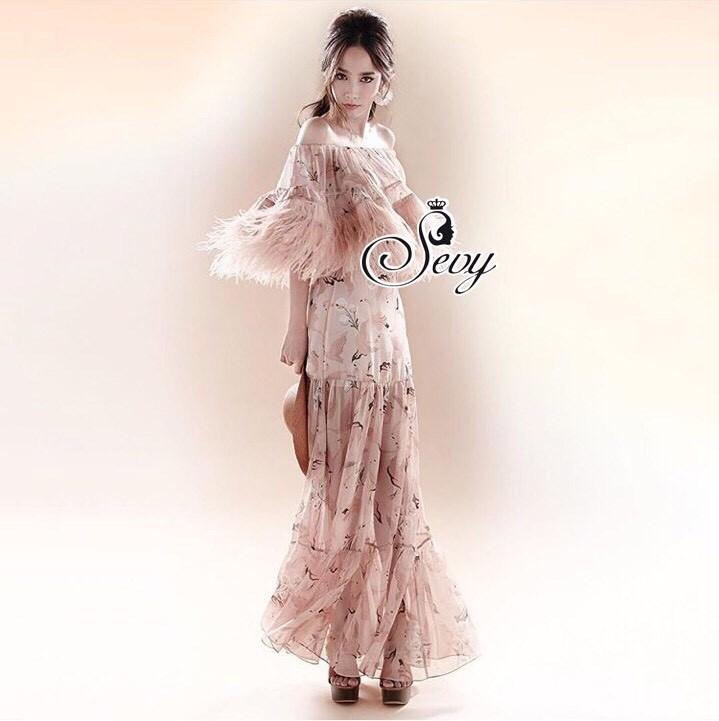 Heartbreaker Feather Off Shoulder Layer Maxi Dress