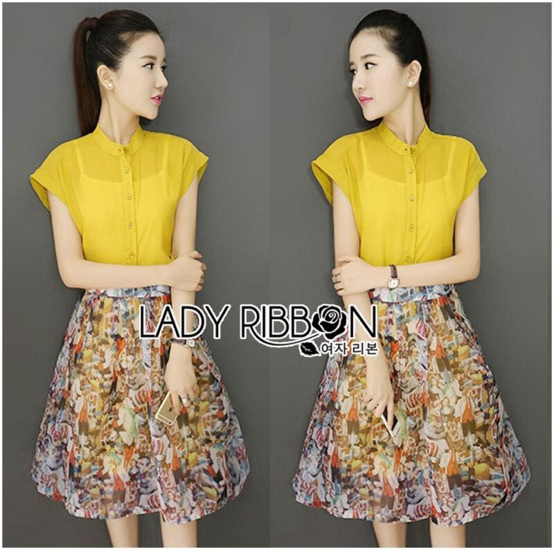 Lady Candice Casual Mustard Cotton Shirt and Printed Skirt Set