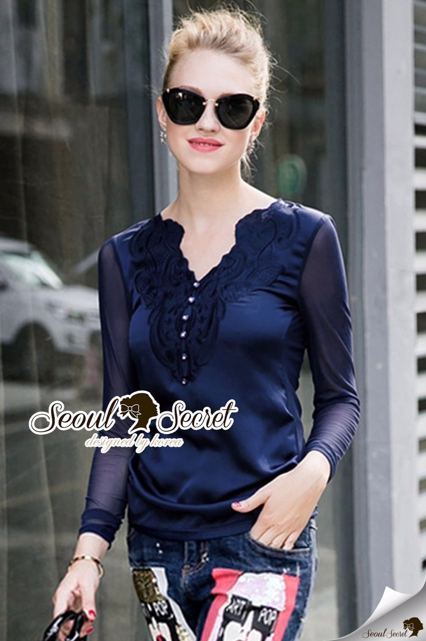 Saphire Blue Lace Blouse