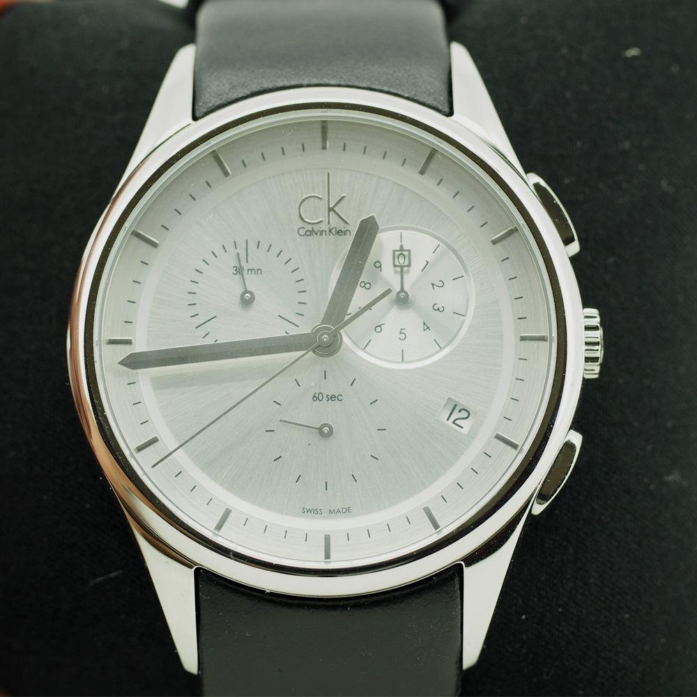 Calvin Klein Men's Basic Black Leather Chronograph Watch (K2A27138)