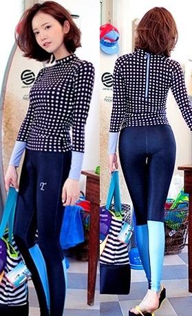 [พร้อมส่ง]ชุดว่ายน้ำแขนยาวขายาว เสื้อสีน้ำเงินลายจุดขาว+กางเกงน้ำเงิน เซ็ต 3 ชิ้น