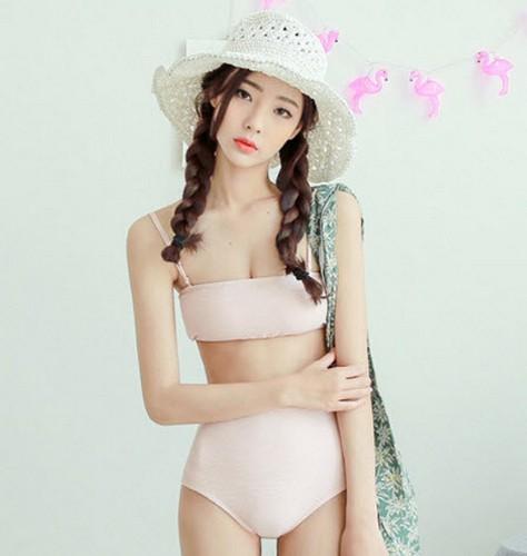 ชุดว่ายน้ำทูพีช บราสีชมพูพาสเทล