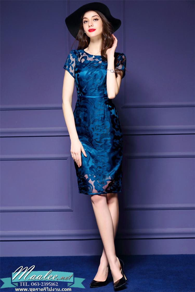พร้อมส่ง ชุดเดรส/ชุดออกงาน ผ้าเกาหลี ผ้าโปร่งปักแขนสั้นลายดอกไม้ สีนำเงิน (ซิปหลัง) ** พร้อมส่งไซส์ L , XL **