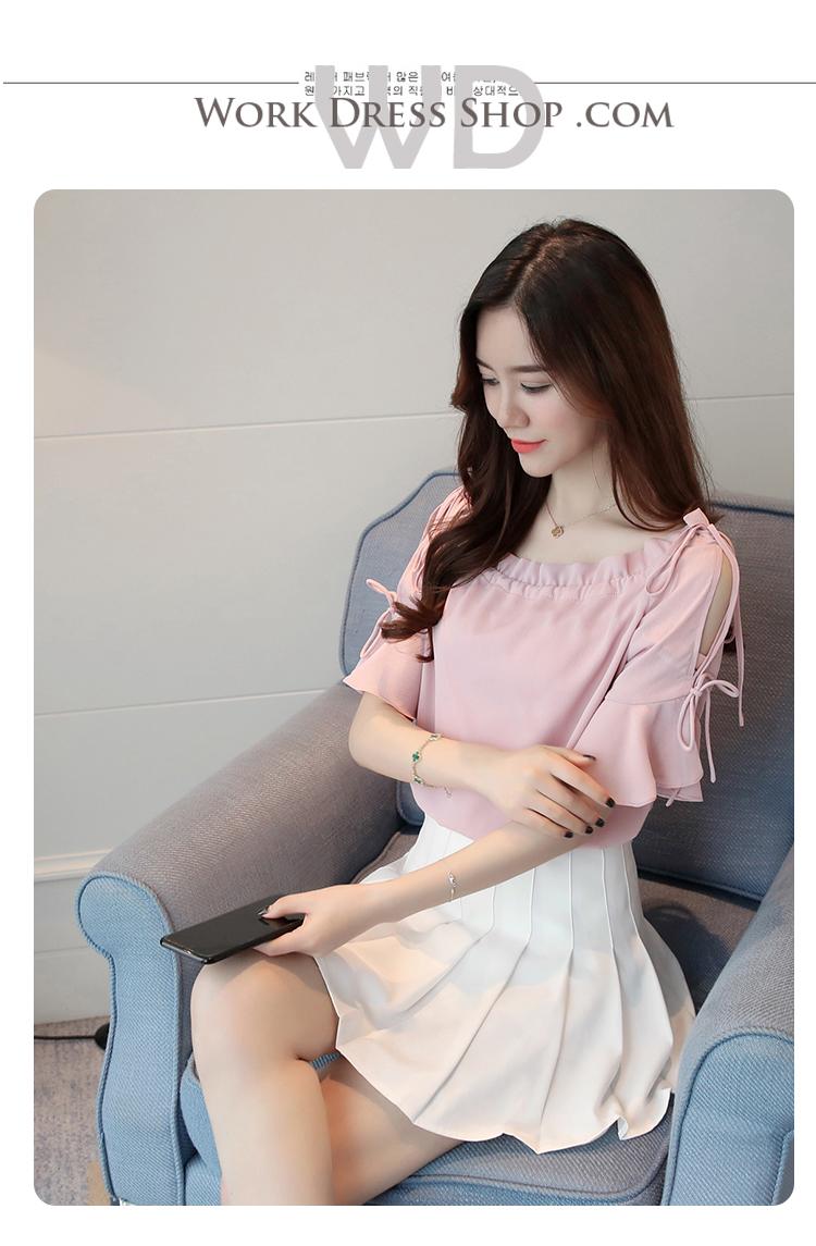 Preorder เสื้อทำงาน สีชมพู ปาดไหล่ แขนระบายสวย เนื้อผ้าใส่สบาย
