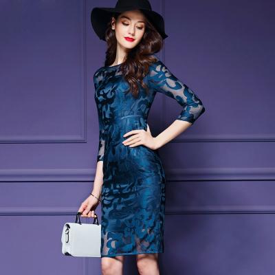 พร้อมส่ง ชุดเดรส/ชุดออกงาน ผ้าเกาหลี ผ้าโปร่งปักแขนยาวลายดอกไม้ สีนำเงิน (ซิปหลัง) ** M , XL , 2XL , 4XL **