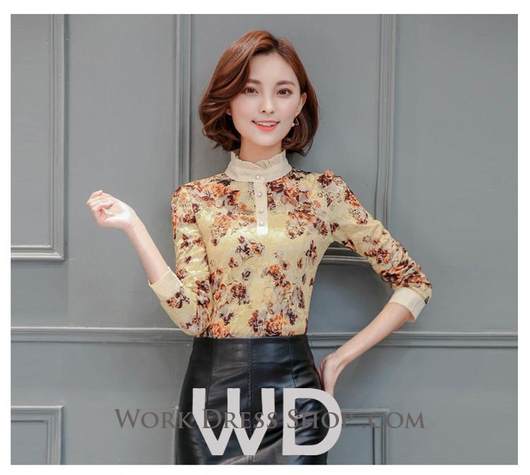 Preorder เสื้อทำงาน สีเหลือง คอตั้ง แขนยาว เนื้อผ้าพิมพ์ลายลูกไม้สวยหรู ระบายอากาศได้ดี